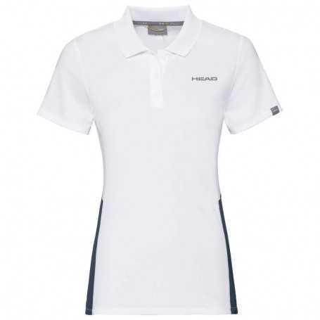 Head Club Tech Polo Shirt Girls weiss-dunkelblau