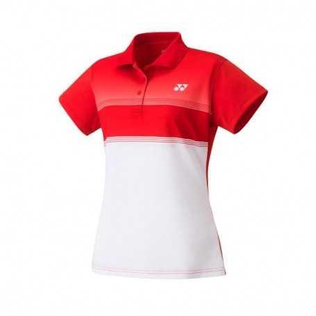 Yonex Damen Polo T-Shirt rot-weiss